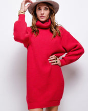 Oversized Chunky Knit Jumper Dress With Roll Neck In Red