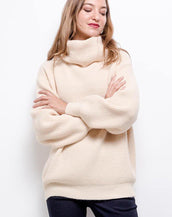 Oversized Cosy Rib Knit Roll Neck Jumper In Beige