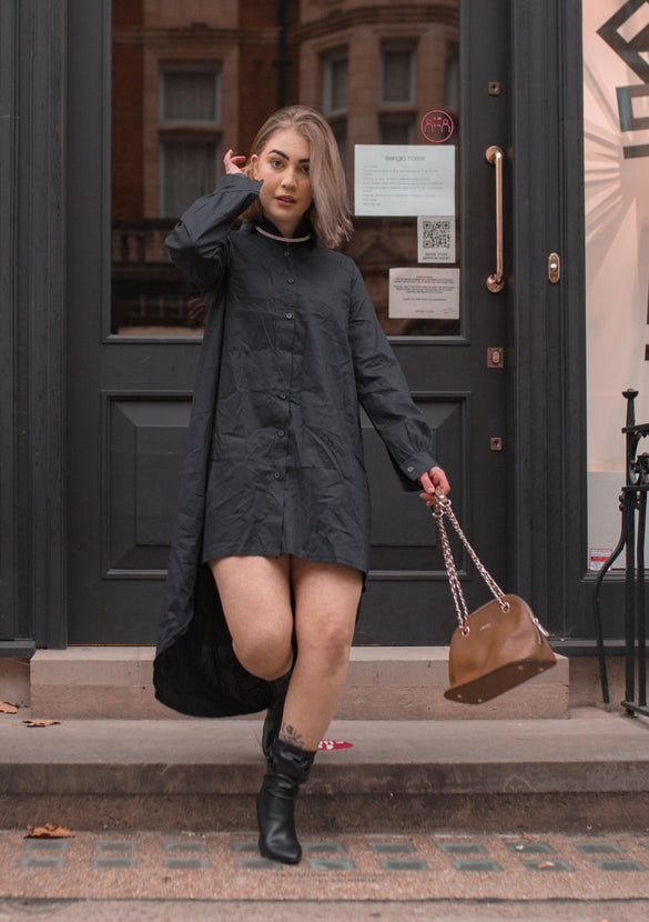 Oversized Dip Hem Shirt Dress In Black