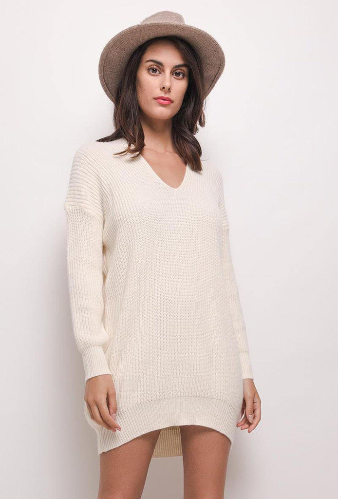 Oversized Jumper Dress With V Neck In Beige