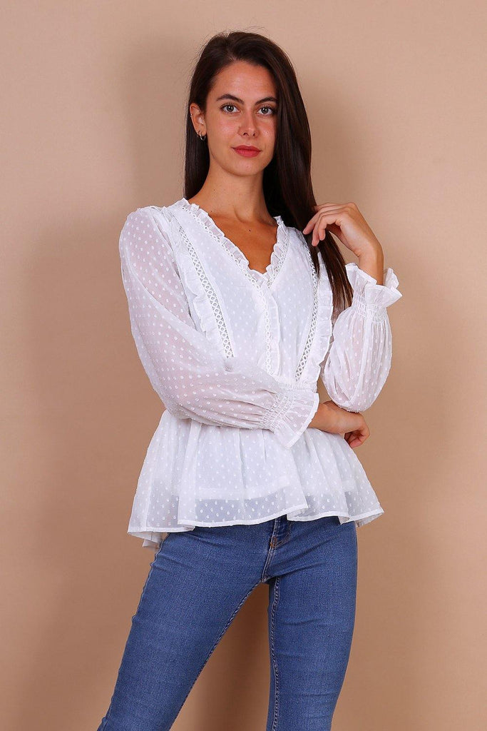 Shirred Waist Crochet Lace Detail Blouse In White