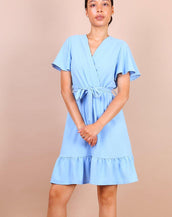 Wrap Front Angel Sleeve Mini Dress In Blue
