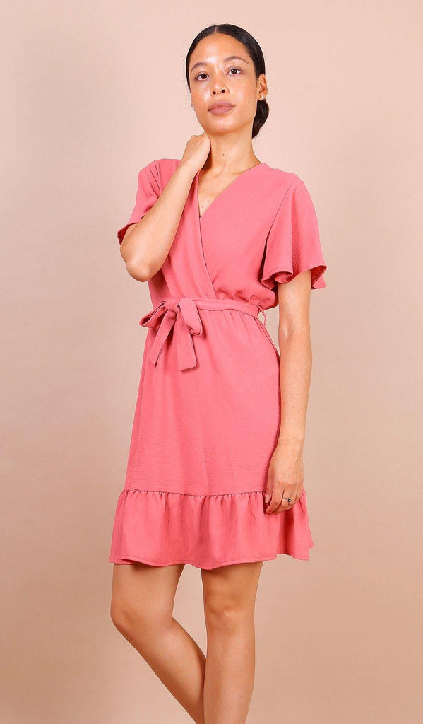 Wrap Front Angel Sleeve Mini Dress In Pink