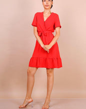 Wrap Front Angel Sleeve Mini Dress In Red