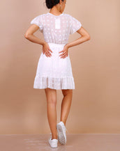 Wrap Front Mini Dress With Textured Spot Detail In White