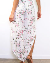 Summer Floral Wrap Style Cropped Trousers