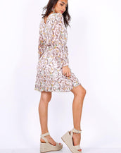 White Long Sleeve Mini Dress In Chiffon Paisley Print