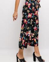 Wide Leg Summer Black Floral Culotte Beach Trousers With Paperbag Waist