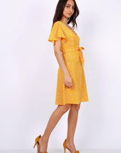 Summer Yellow Daisy Dot Wrap Front Mini Dress