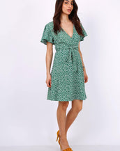 Summer Green Daisy Dot Wrap Front Mini Dress
