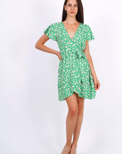 Summer Mini Wrap Dress With Frill Hem In Ditsy Floral Print