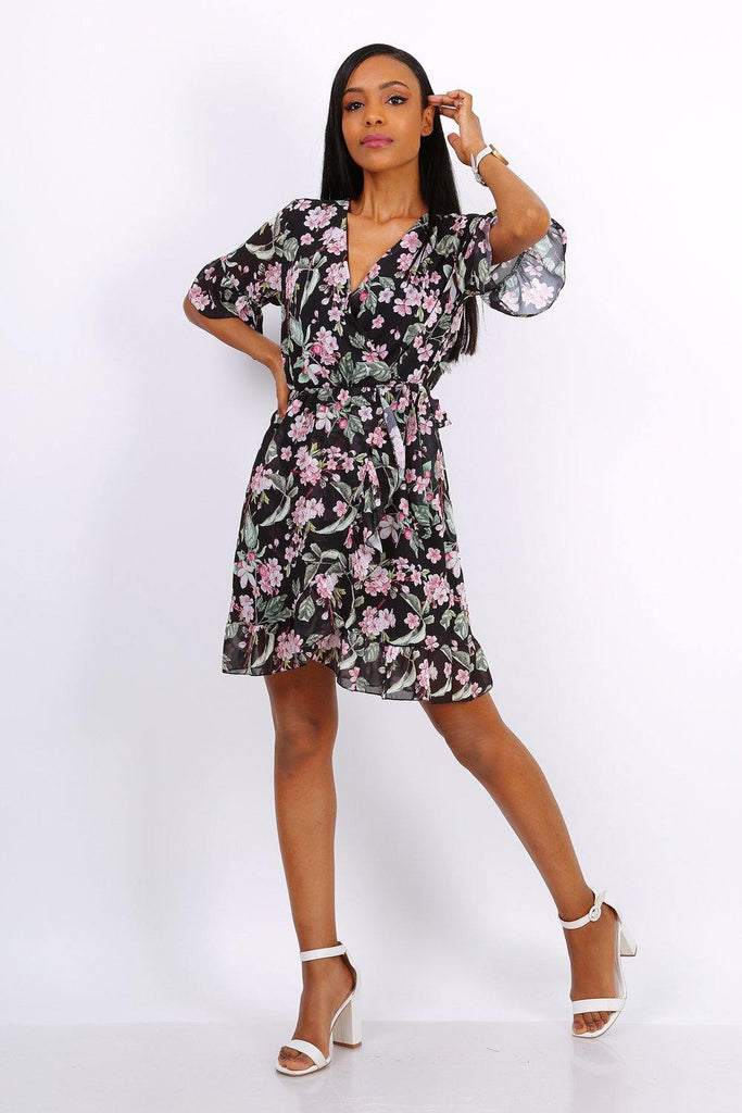 Summer Mini Wrap Dress With Frill Hem In Black Floral Print