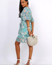 Summer Mini Wrap Dress With Frill Hem In Blue Floral Print