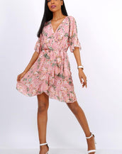 Summer Mini Wrap Dress With Frill Hem In Pink Floral Print