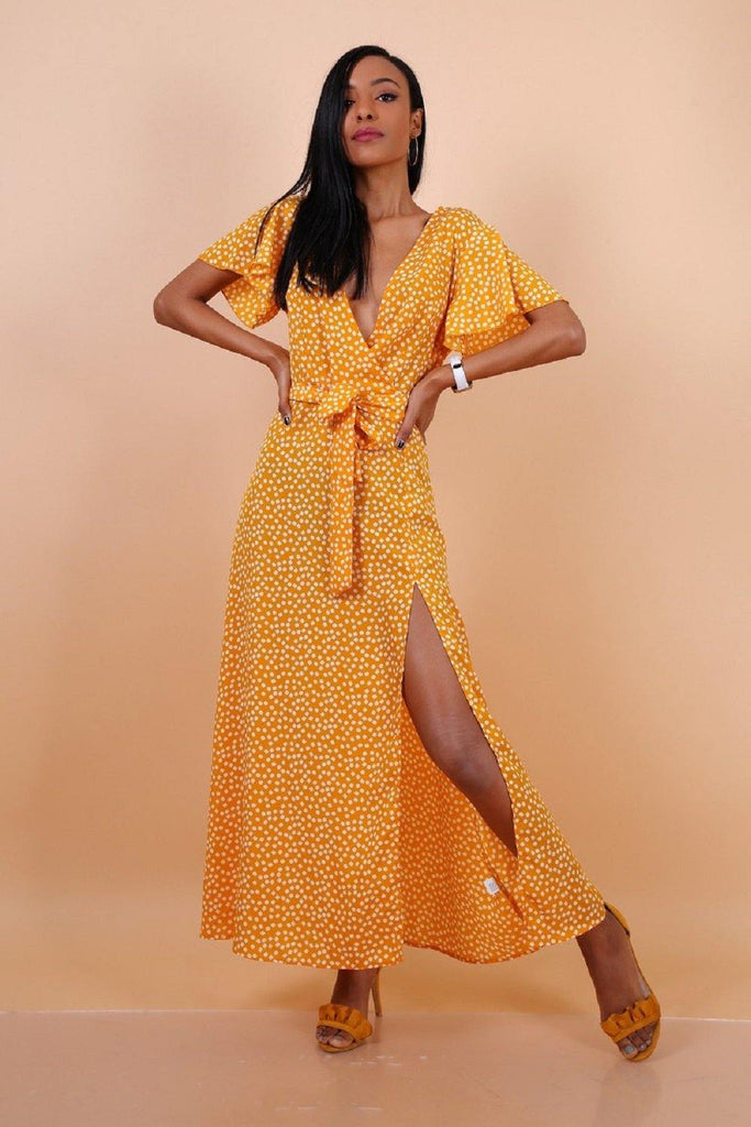 Wrap Front Split Leg Maxi Dress In Yellow Daisy Dot Print