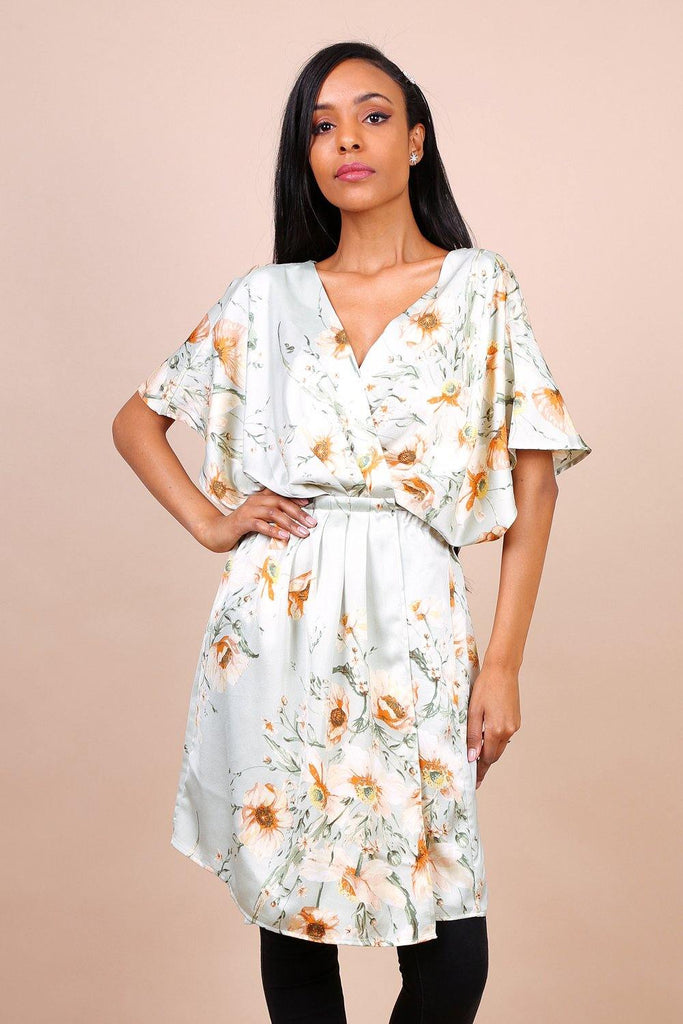 Kimono Sleeve Cross Front Dress In Green Floral Print