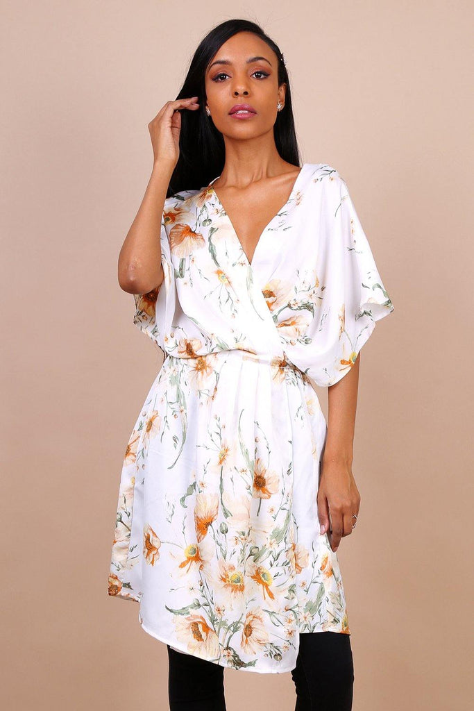 Kimono Sleeve Cross Front Dress In White Floral Print