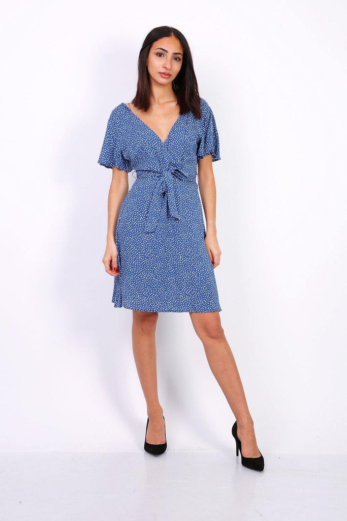 Wrap Front Mini Dress In Blue Polka Dot