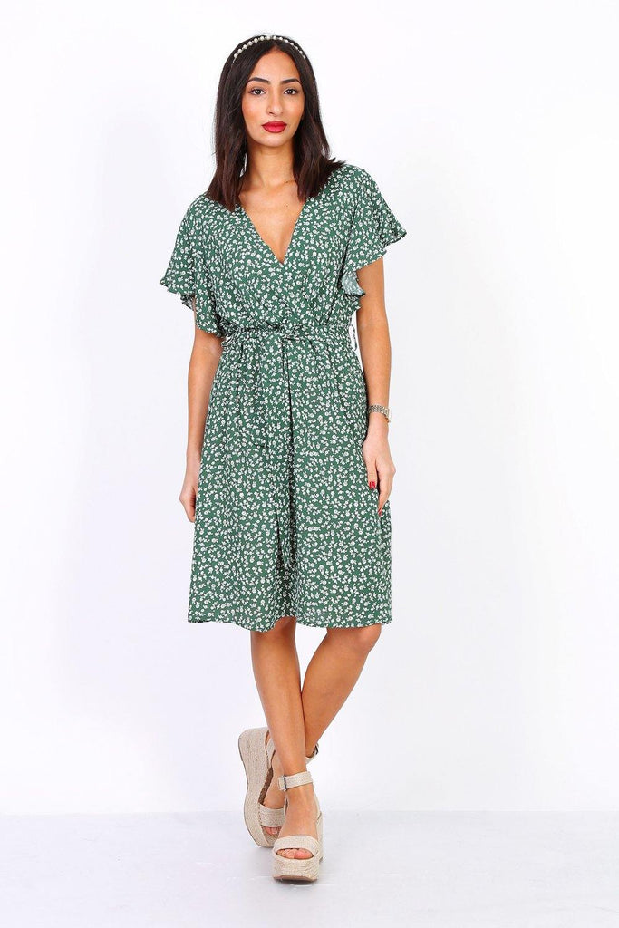 Green Ditsy Floral Wrap Dress With Elasticated Waist