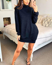 Jumper Dress With Roll Neck And Pockets In Black