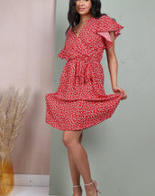 Red Ditsy Floral Wrap Dress With Elasticated Waist