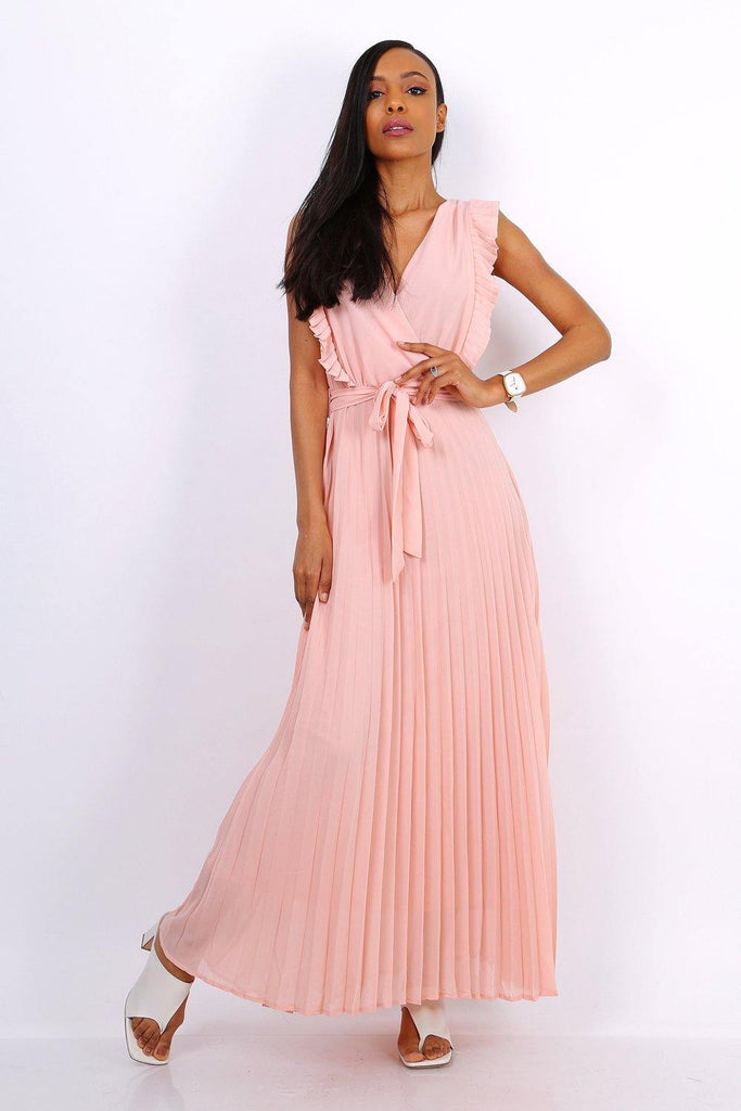 Wrap Maxi Dress With Pleated Skirt