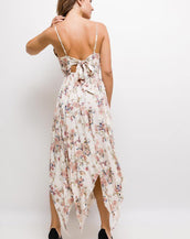 Floral Print Hanky Hem Dress With Tie Back Detail