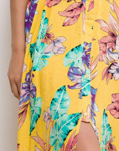 Floral Maxi Dress With Ruffled Neckline In Yellow