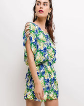 Floral Playsuit With Open Shoulder Detail In Blue