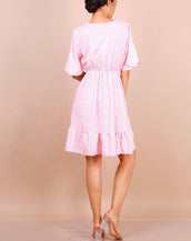 Flute Sleeve Mini Skater Dress In Pink Floral Print
