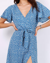 Wrap Front Split Leg Maxi Dress In Blue Daisy Dot Print