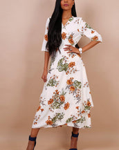 Floral Wrap Ruffle Hem Maxi Dress In Off White