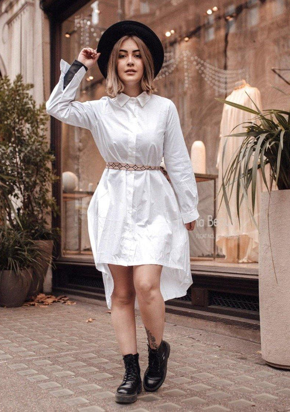 Oversized Dip Hem Shirt Dress In White