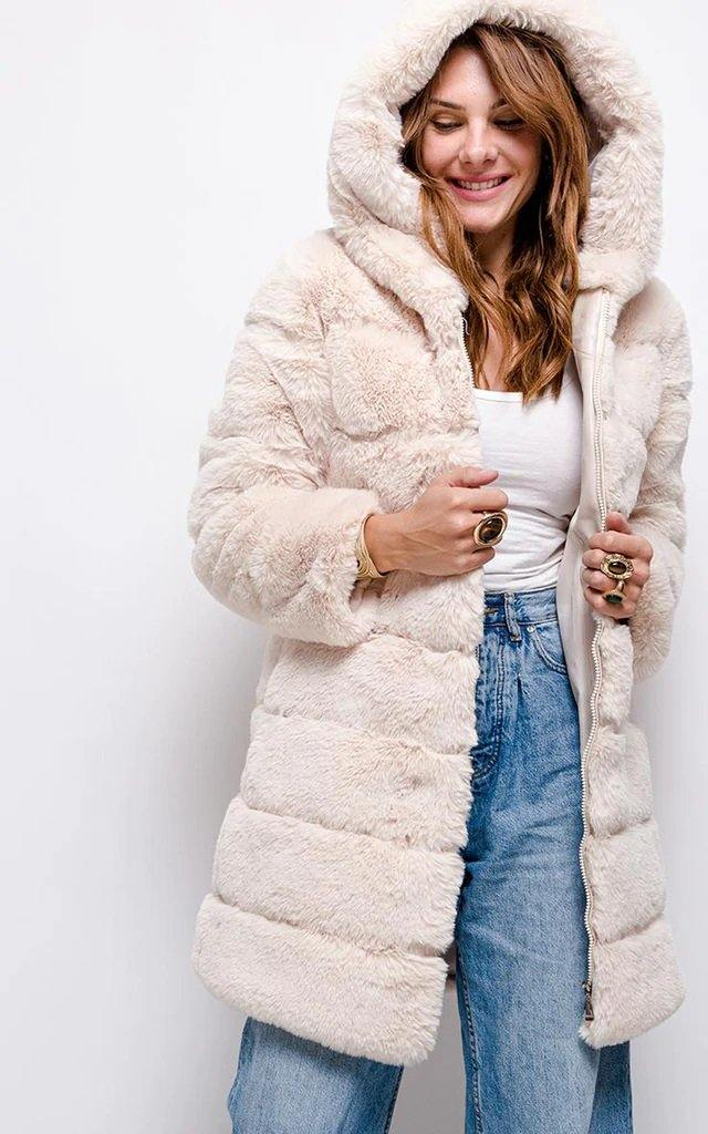 Premium Cream Faux Fur Hooded Coat