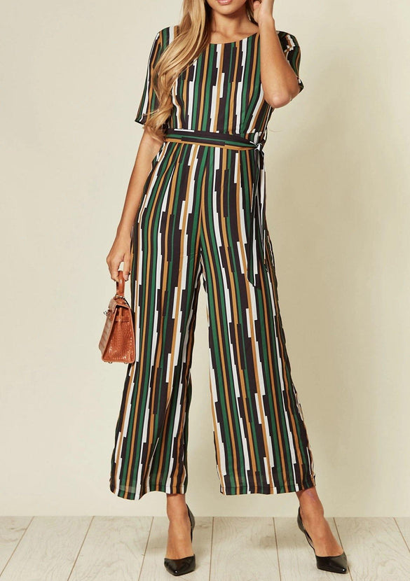 Multi Coloured Striped Tall Fit Culotte Jumpsuit