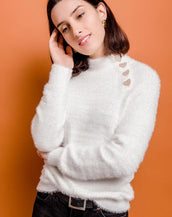 White High Neck Fluffy Knit Jumper With Heart Detail