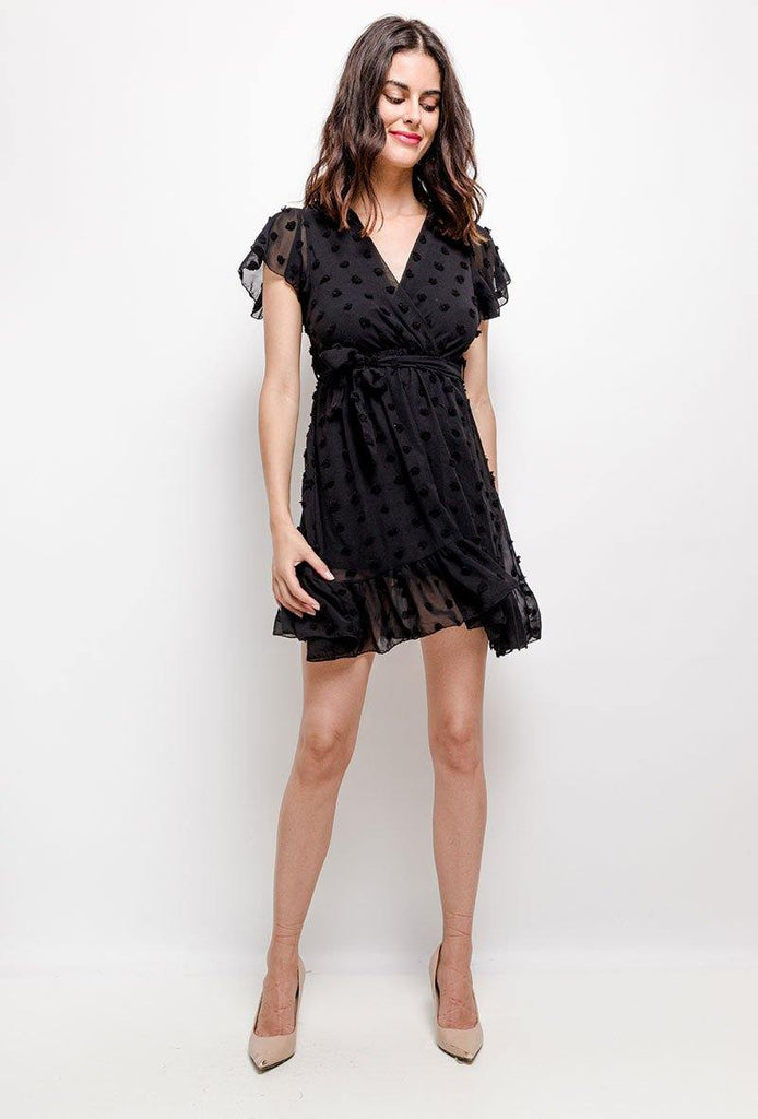 Wrap Front Mini Dress With Textured Spot Detail In Black