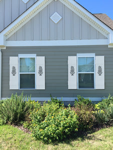 CustomCoastalExteriorShutters.com Custom Coastal PVC Vinyl Exterior Shutters  With Pineapple Cutout