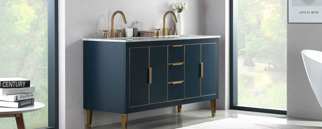 Rubeza 1500mm Dukes Vanity Unit , Carrara Marble Top - Dark Blue & Gold