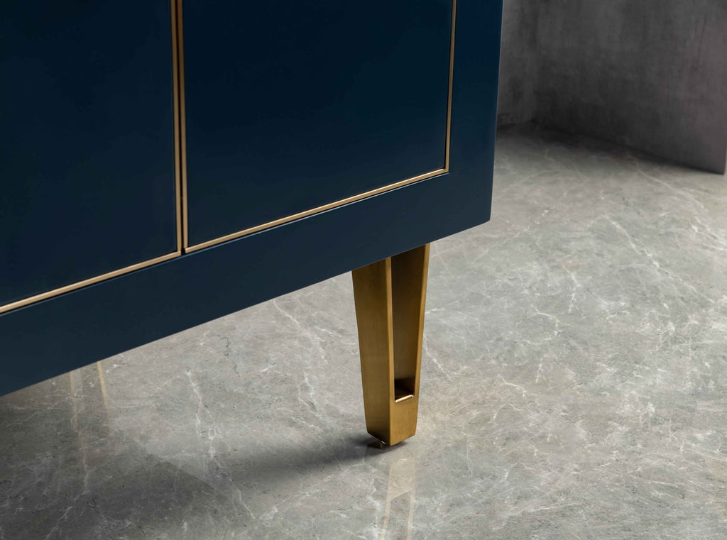 Rubeza Dukes 750mm Vanity Unit , Carrara Marble Top - Blue & Gold