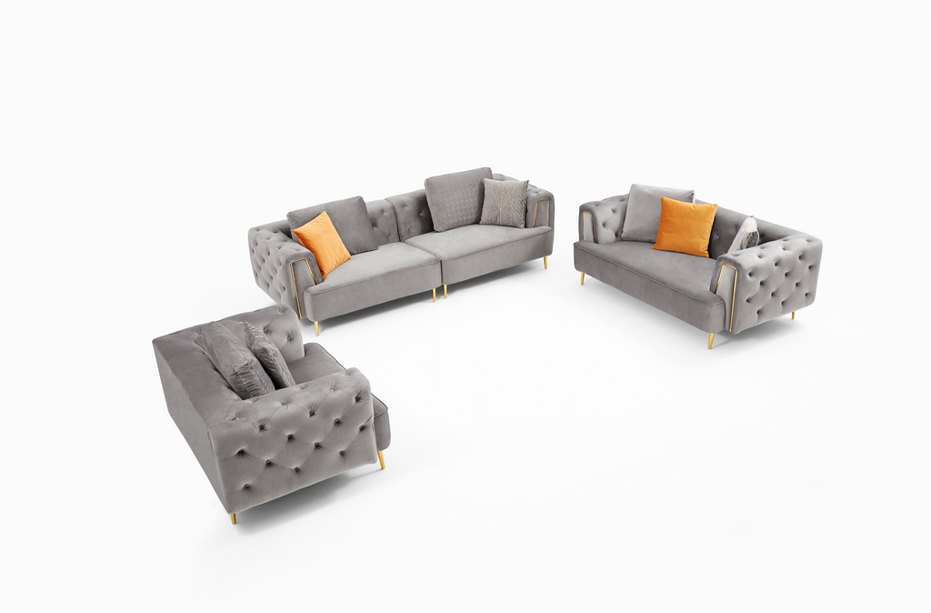 Rubeza Sofia 4 Seater Sofa - Medium Grey