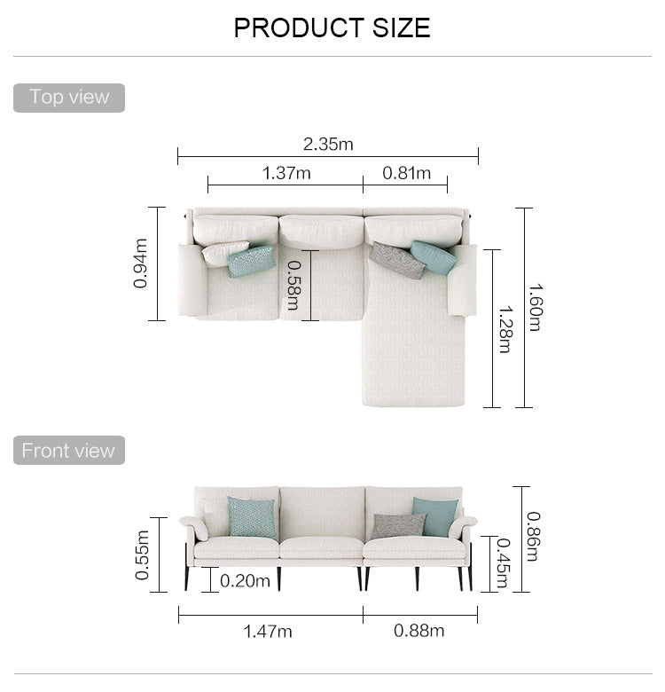 Rubeza Malibu Collection Right Hand Facing Corner Sofa - White Cream
