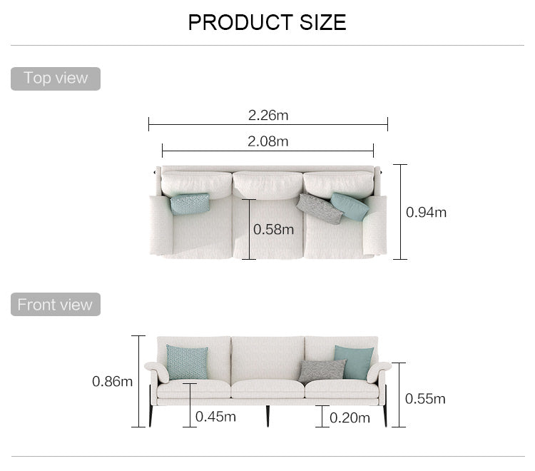 Rubeza Malibu Collection 3 Seater Sofa - White Cream