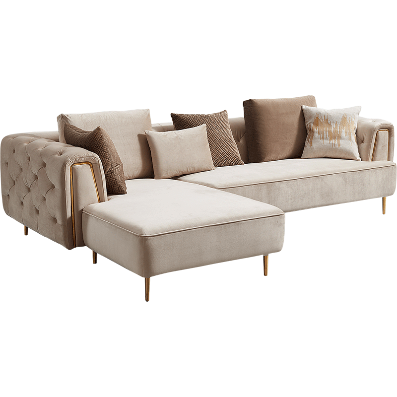 Rubeza Sofia Left Hand Facing Corner Sofa - Warm Sand