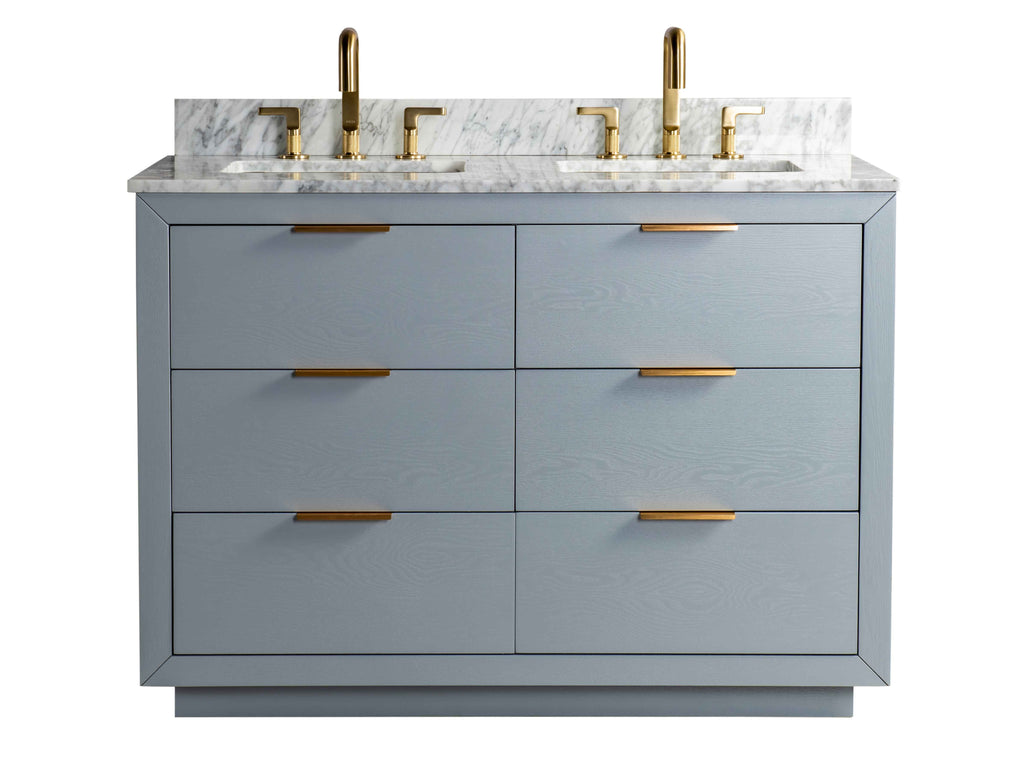 Rubeza 1200mm Keily Vanity Unit with Carrara Marble Top - Light Grey & Gold