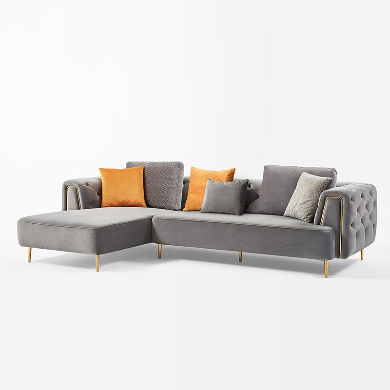 Rubeza Sofia Left Hand Facing Corner Sofa - Medium Grey