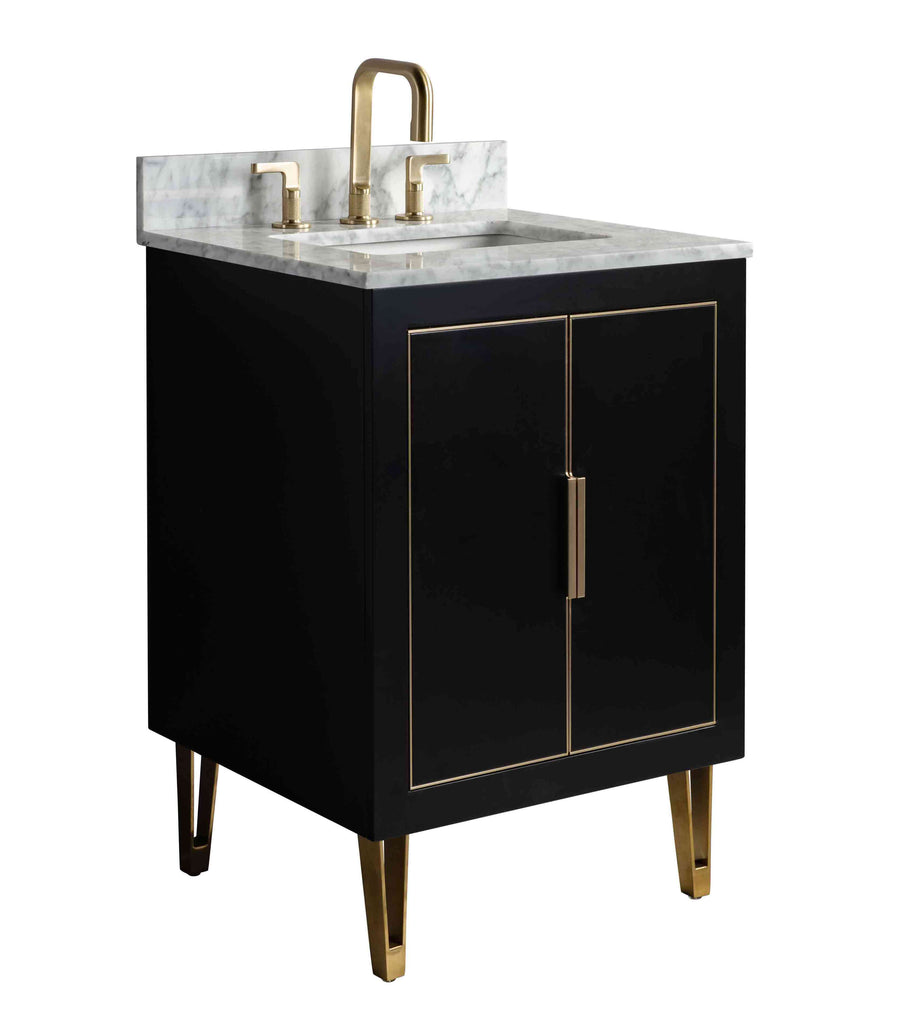 Rubeza Dukes 600mm Vanity Unit , Carrara Marble Top - Black & Gold