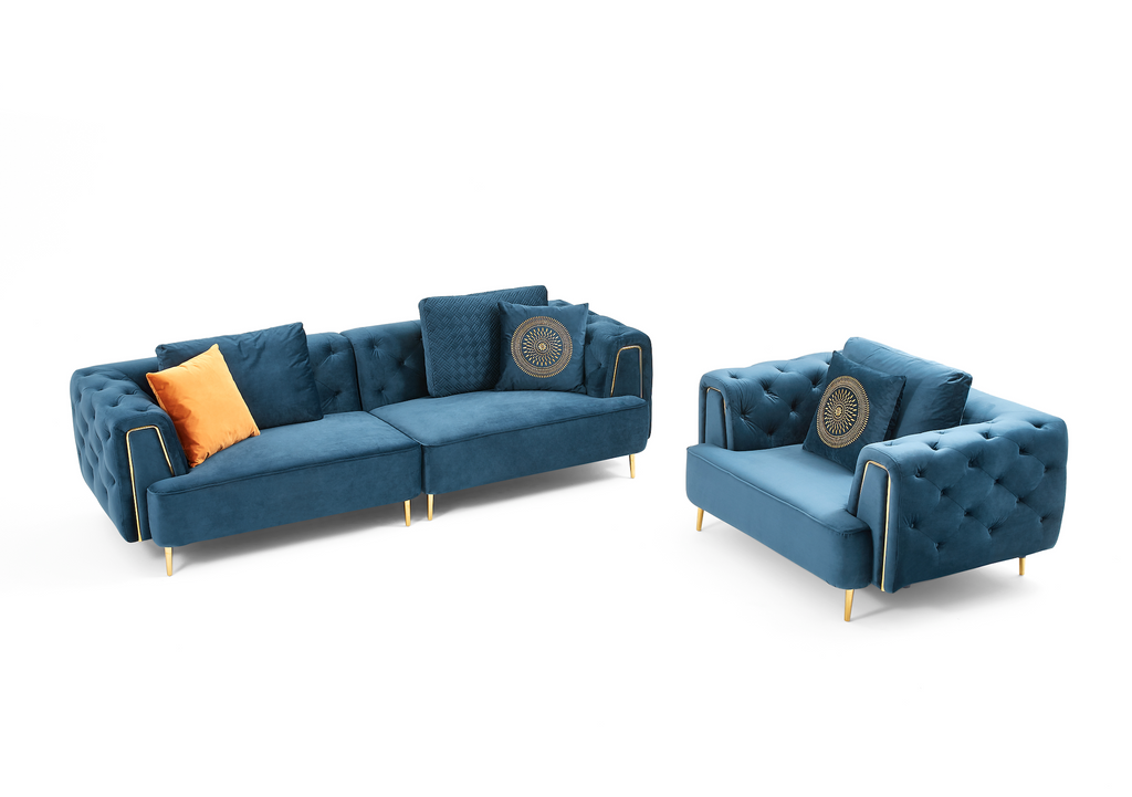 Rubeza Sofia 4 Seater Sofa - Dark Blue