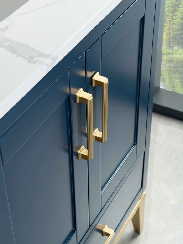 Rubeza 1500mm Anatolia Vanity Unit with Calacatta Quartz  Top, Dark Blue & Gold