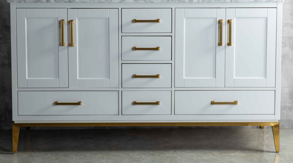Rubeza 1500mm Anatolia Sideboard with Carrara Marble Top - White & Gold